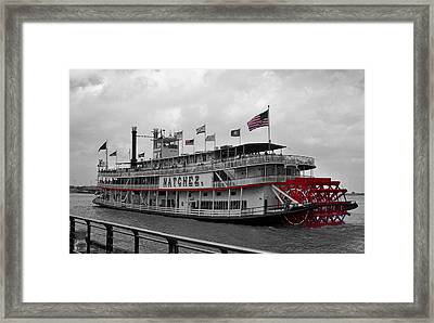 Steamboat Natchez Black And White Framed Print by Melanie Snipes