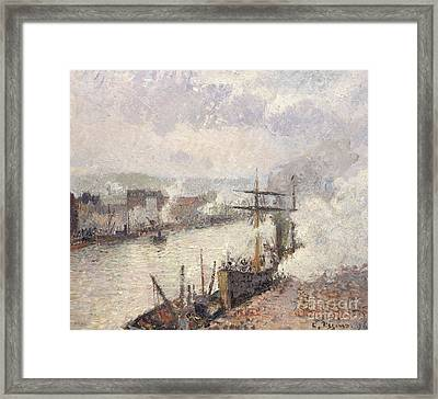 Steamboats In The Port Of Rouen, 1896  Framed Print by Camille Pissarro