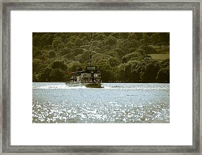 Steaming Across The Lake Framed Print by Andy Smy