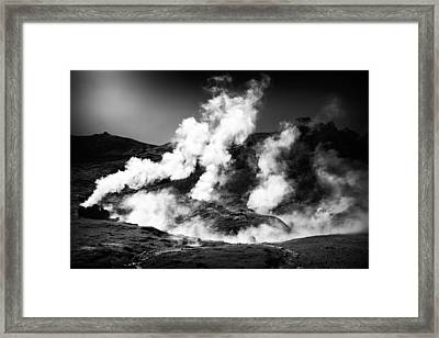 Framed Print featuring the photograph Steaming Iceland Black And White Landscape by Matthias Hauser