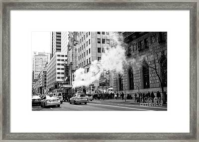 Steaming On 5th Avenue Framed Print