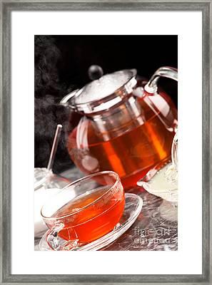 Steaming Tea In Tea Service Of Glass Framed Print