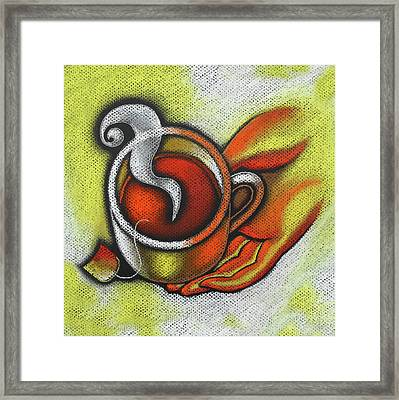 Steaming Tea Framed Print by Leon Zernitsky
