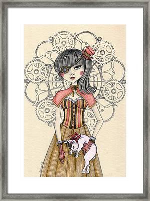Steampunk Alice And The White Rabbit Framed Print by Snezana Kragulj