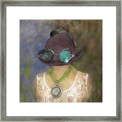 Steampunk Beauty With Hat And Goggles - Square Framed Print