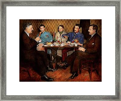 Framed Print featuring the photograph Steampunk - Bionic Three Having Tea 1917 by Mike Savad