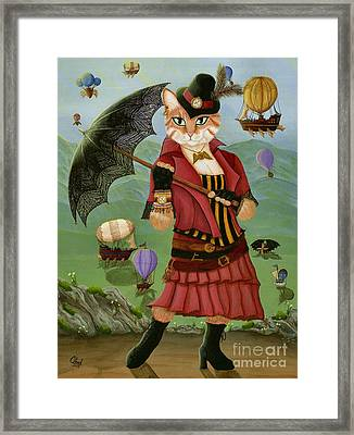 Framed Print featuring the painting Steampunk Cat Gal - Victorian Cat by Carrie Hawks