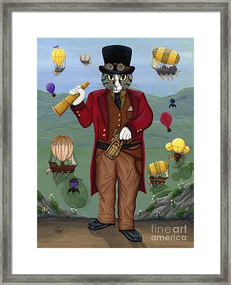 Steampunk Cat Guy - Victorian Cat Framed Print