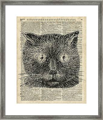 Steampunk Clock Cat Eyes Framed Print by Jacob Kuch