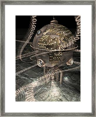 Steampunk Data Hub Framed Print by Keith Kapple