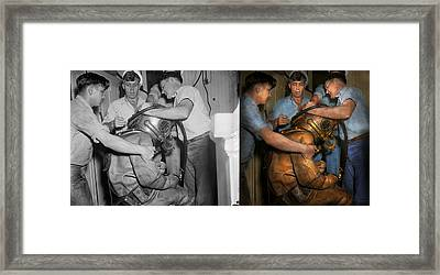 Steampunk - Diver - A Load Off My Shoulders 1936 - Side By Side Framed Print by Mike Savad