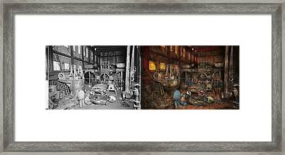 Steampunk - Final Inspection 1915 - Side By Side Framed Print by Mike Savad