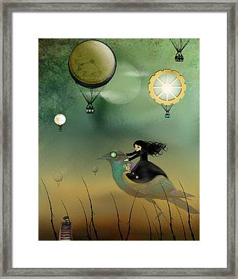 Steampunk Flight Of Fantasy Framed Print by Charlene Zatloukal