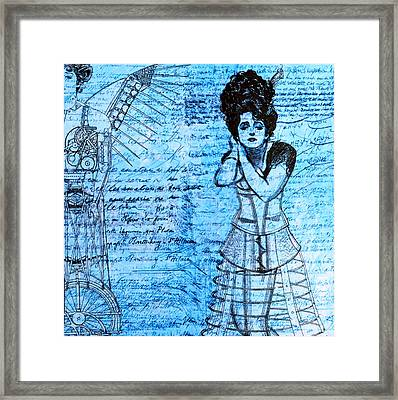 Steampunk Girls In Blues Framed Print by Nikki Marie Smith