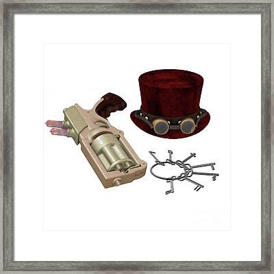 Steampunk Hat Goggles Gun Keys Framed Print