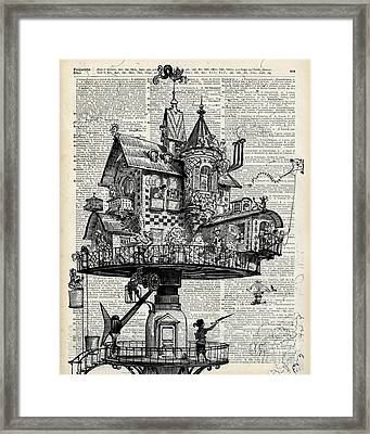 Steampunk House Framed Print by Jacob Kuch