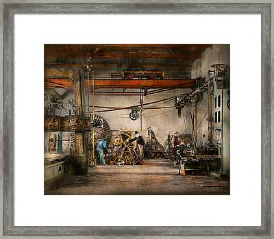 Steampunk - In An Old Clock Shop 1866 Framed Print by Mike Savad