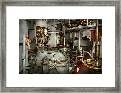 Framed Print featuring the photograph Steampunk - In The Engine Room by Mike Savad