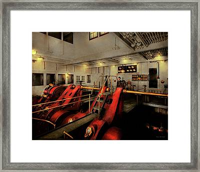 Framed Print featuring the photograph Steampunk - Man The Controls 1908 by Mike Savad