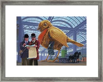 Steampunk Mechanical Robin Factory Framed Print by Martin Davey