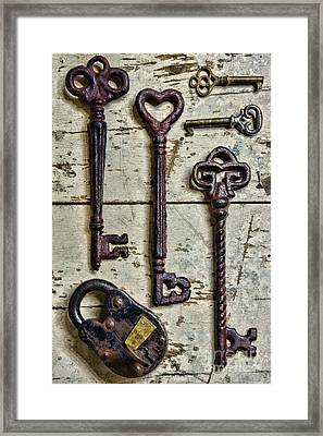 Steampunk - Old Skeleton Keys Framed Print