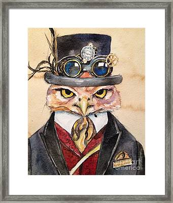 Framed Print featuring the painting Steampunk Owl Mayor by Christy  Freeman