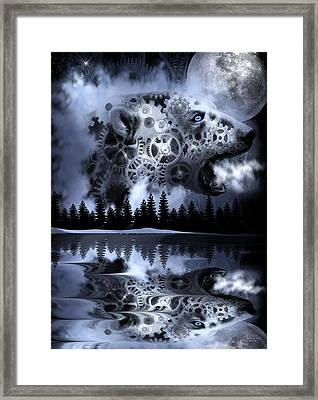 Steampunk Polar Bear Landscape Framed Print