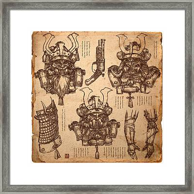Steampunk Samurai Concept Framed Print by James Ng