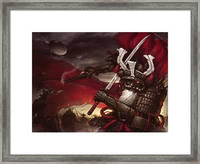 Steampunk Samurai Framed Print by James Ng