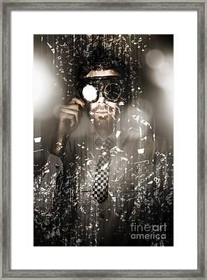 Steampunk Scientist Breaking The Atom Framed Print