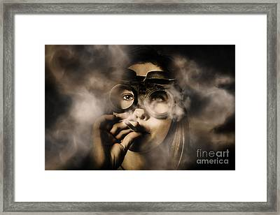 Steampunk Welder Smoking Cigarette Framed Print