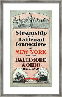 Steamship And Railroad Connections At New York Framed Print