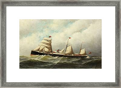Steamship   Cornwall Framed Print by Antonio Jacobsen