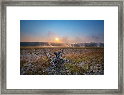 Steamy Sunrise In Yellowstone Framed Print