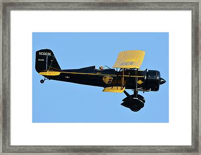 Stearman 4e Junior Speedmail Nc663k Chino California April 29 2016 Framed Print by Brian Lockett