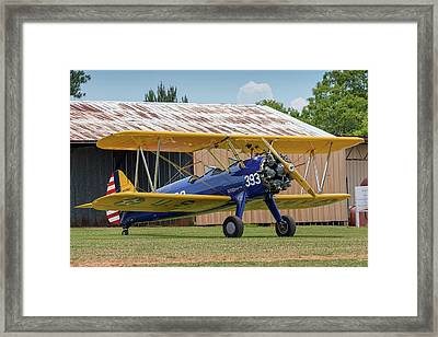 Stearman And Old Hangar Framed Print