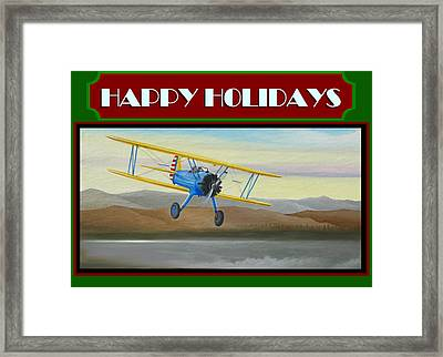 Stearman Morning Flight Christmas Card Framed Print by Stuart Swartz