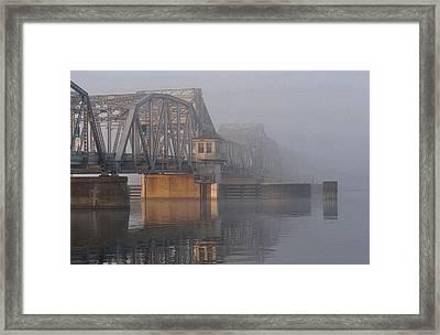 Steel Bridge In Fog Framed Print