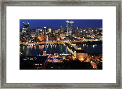 Steel City At Blue Hour Framed Print by Frozen in Time Fine Art Photography