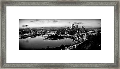 Steel City Dawn - Bw Framed Print