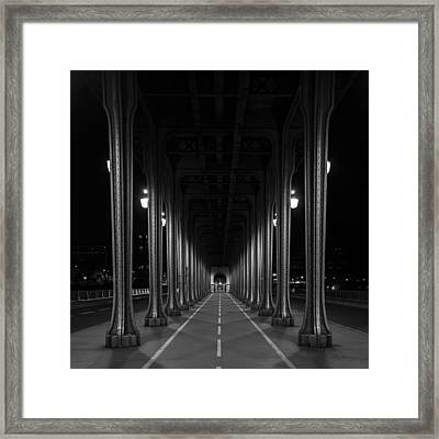 Framed Print featuring the photograph Steel Colonnades In The Night by Denis Rouleau