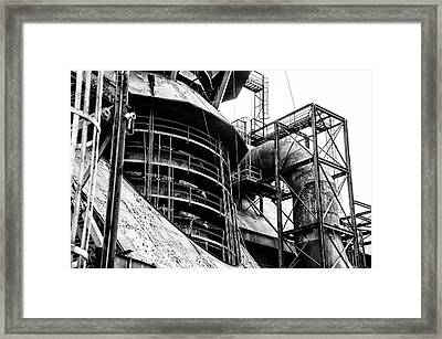 Steel Mill In Black And White - Bethlehem Framed Print by Bill Cannon