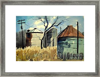 Framed Print featuring the painting Steel Silos In A Field Matted Glassed Framed by Charlie Spear