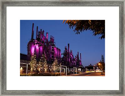 Steel Stacks At Night Framed Print by Michael Dorn