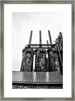 Steel Stacks - The Bethehem Steel Mill In Black And White Framed Print by Bill Cannon