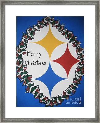 Steelers Christmas Card Framed Print by Jeffrey Koss