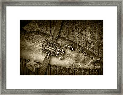 Steelhead Trout Catch In Sepia Framed Print by Randall Nyhof