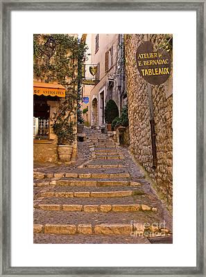 Steep Street In St Paul De Vence Framed Print by Louise Heusinkveld