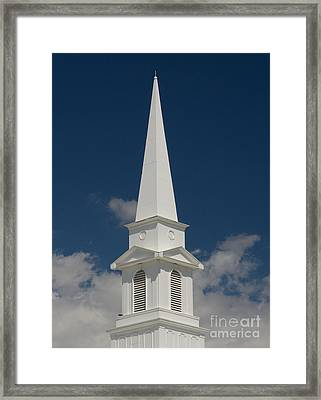 Steeple And Clouds Framed Print by Merrimon Crawford