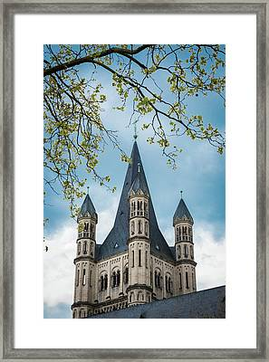 Steeple Of Great Saint Martin Church - Cologne - Germany Framed Print by Jon Berghoff